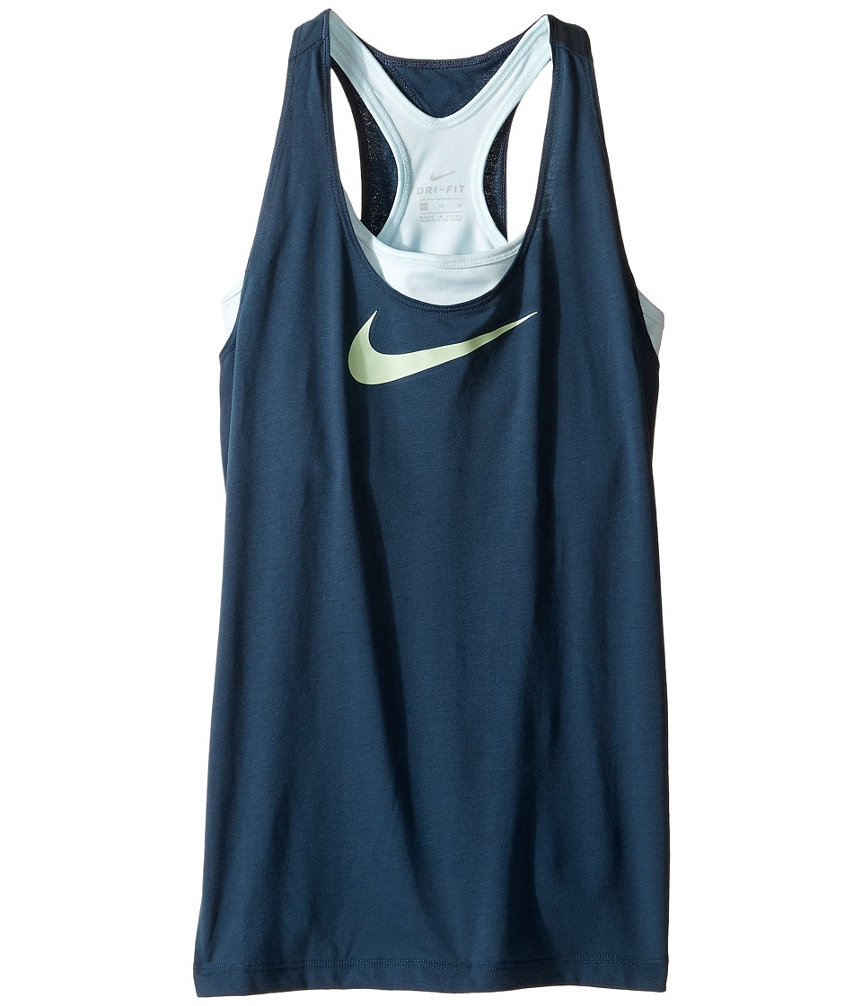 Nike Kids - Breathe 2-in-1 Training Tank (Little Kids/Big Kids) (Squadron Blue/Glacier Blue/Fresh Mint) Girl's Sleeveless