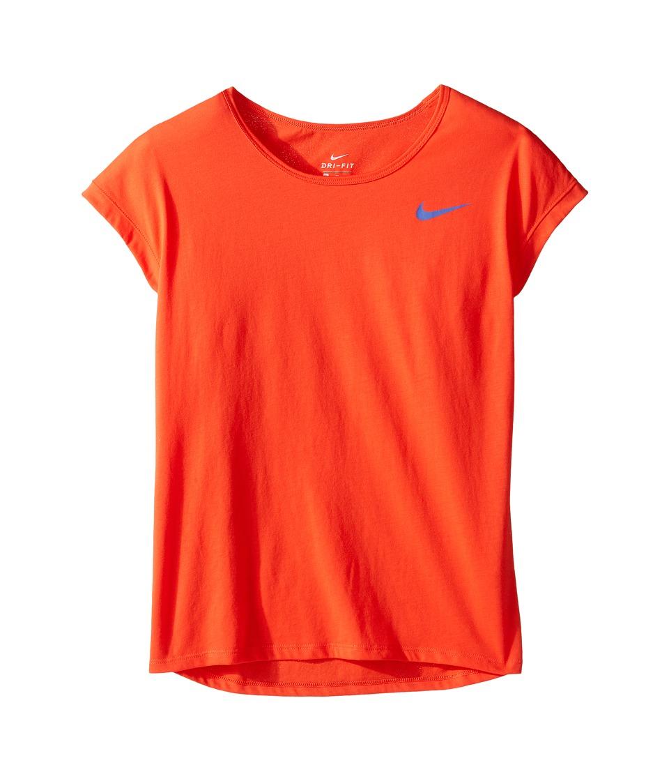 Nike Kids - Dry Short Sleeve Training Top (Little Kids/Big Kids) (Max Orange/Comet Blue) Girl's Clothing