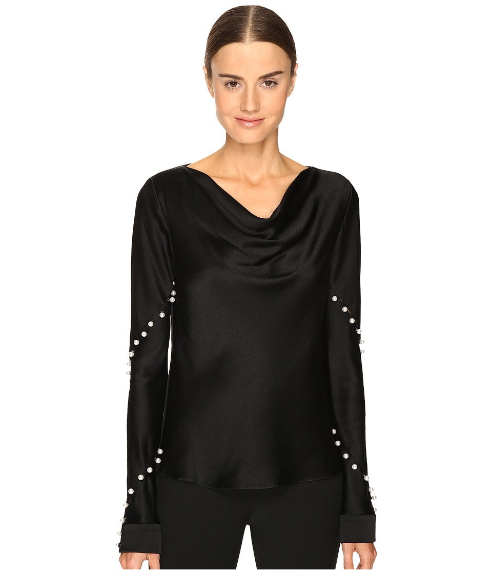 Prabal Gurung - Long Sleeve Cowl Neck Blouse w/ Pearls (Black) Women's Blouse