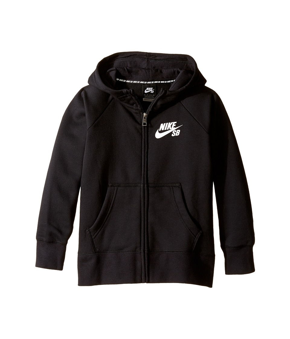 Nike Kids - SB Icon Full-Zip Hoodie (Little Kids/Big Kids) (Black/Anthracite/White) Boy's Sweatshirt