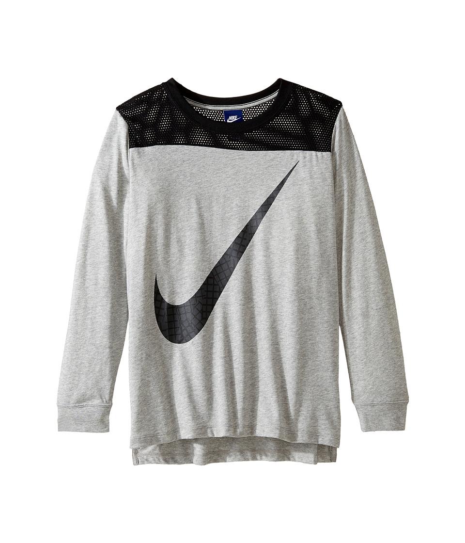Nike Kids - Sportswear Long Sleeve Graphic Top (Little Kids/Big Kids) (Dark Grey Heather/Black) Girl's Clothing