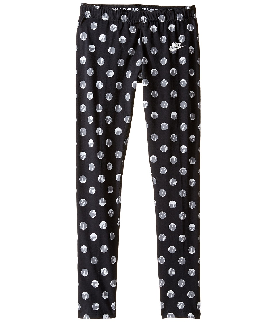 Nike Kids - Sportswear Leg-A-See Tight (Little Kids/Big Kids) (Black/White) Girl's Casual Pants