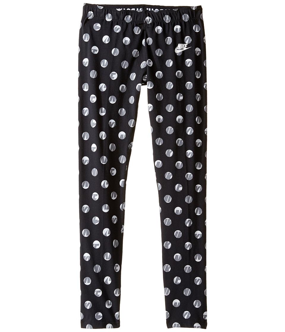 Nike Kids - Sportswear Leg-A-See Tight (Little Kids/Big Kids) (Black/White) Girl's Casual Pants