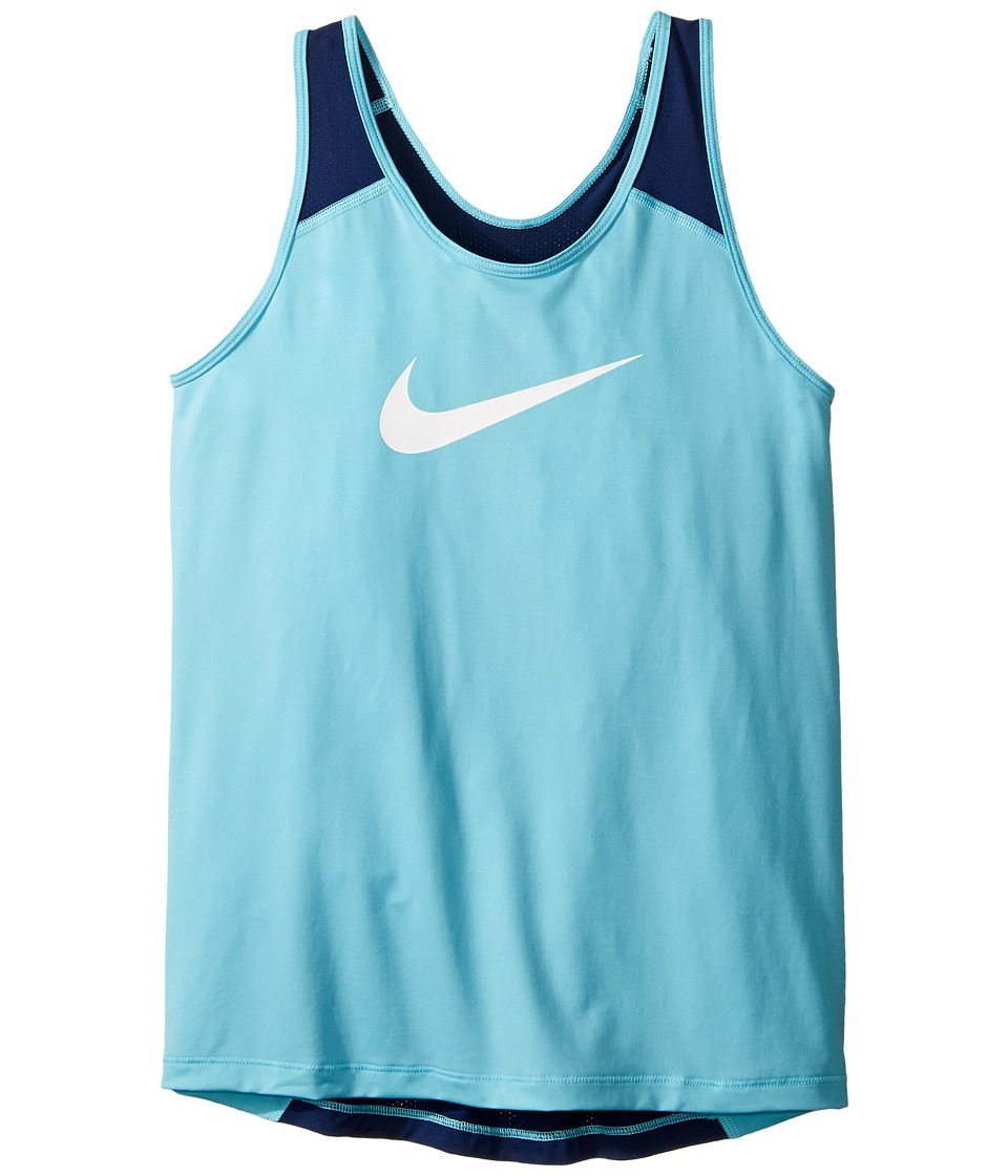 Nike Kids - Pro Cool Training Tank Top (Little Kids/Big Kids) (Vivid Sky/Binary Blue/White) Girl's Sleeveless