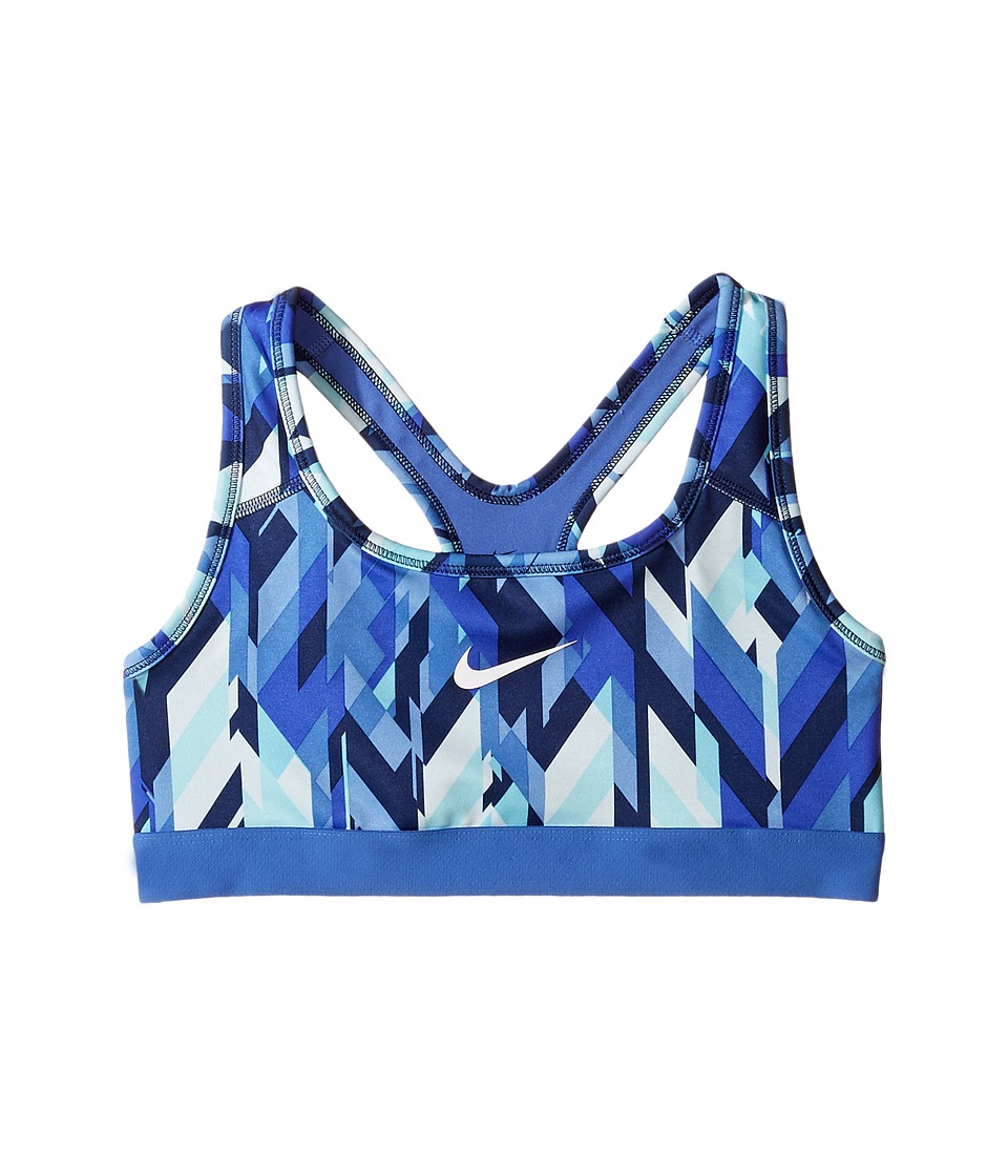 Nike Kids - Medium Support Printed Sports Bra (Little Kids/Big Kids) (Glacier Blue/Comet Blue/Comet Blue/White) Girl's Bra