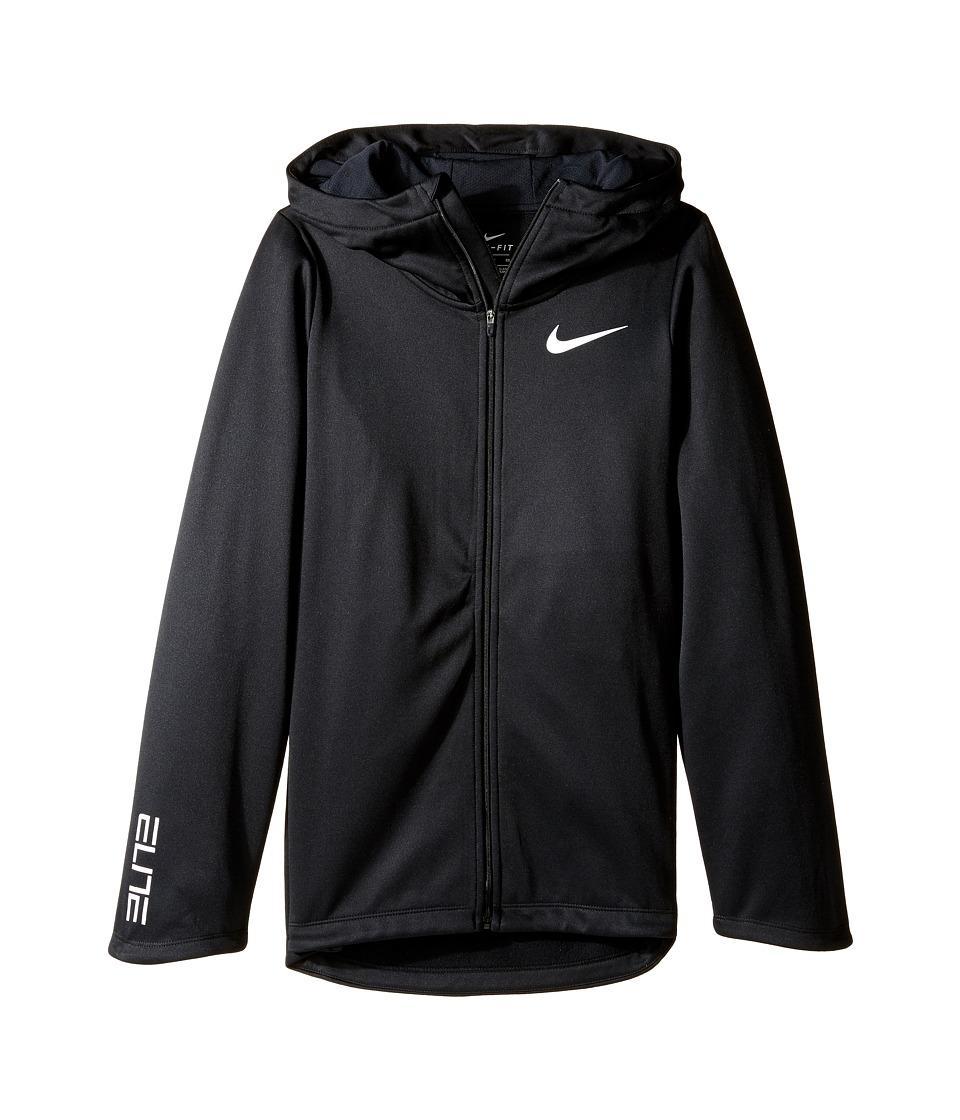 Nike Kids - Basketball Full-Zip Hoodie (Little Kids/Big Kids) (Black/Black/Black/White) Girl's Sweatshirt