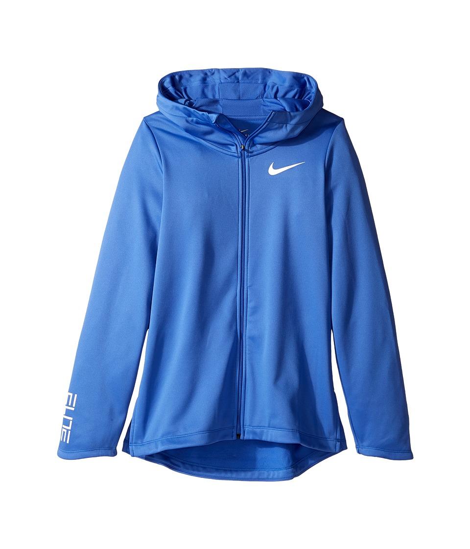 Nike Kids - Basketball Full-Zip Hoodie (Little Kids/Big Kids) (Comet Blue/Comet Blue/Comet Blue/White) Girl's Sweatshirt