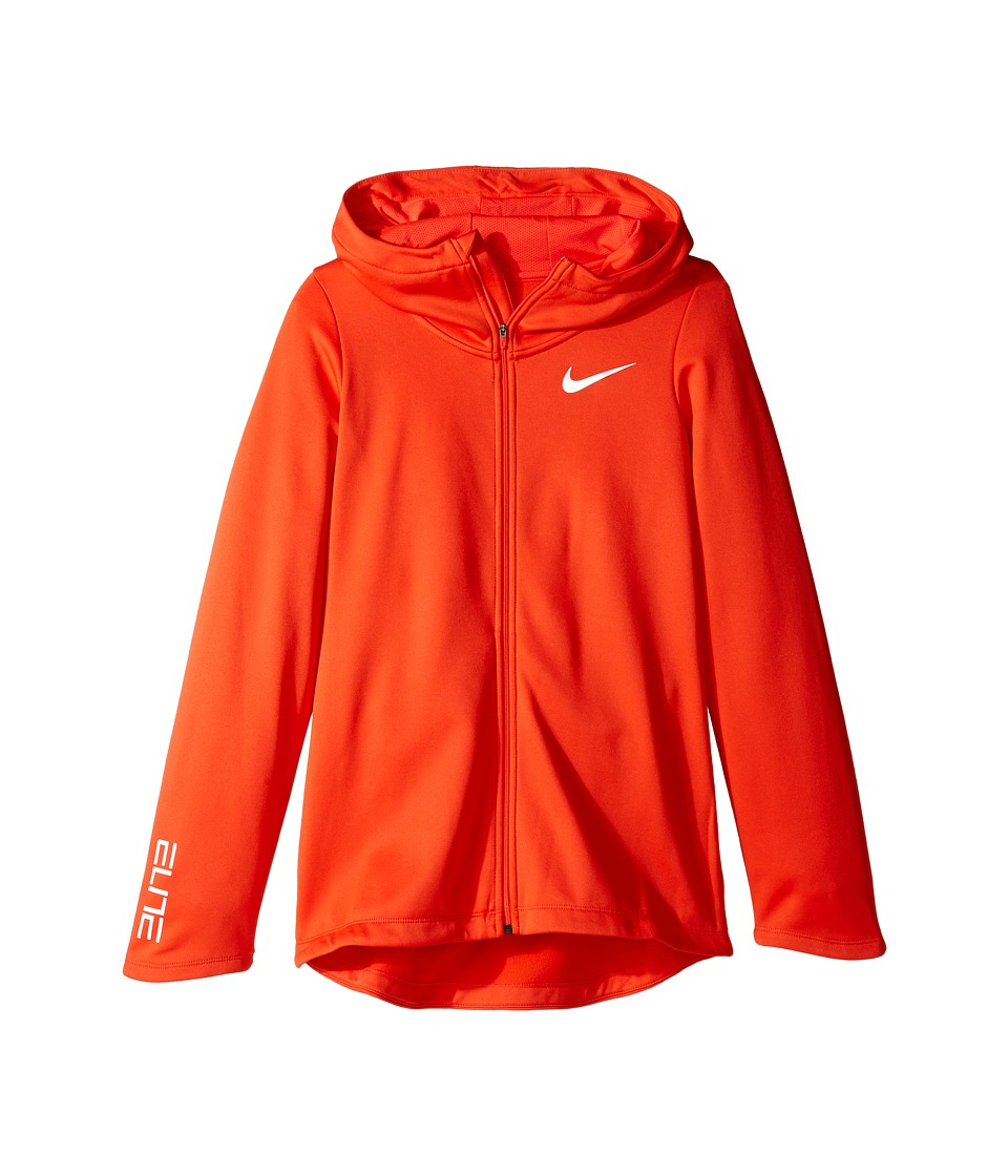 Nike Kids - Basketball Full-Zip Hoodie (Little Kids/Big Kids) (Max Orange/Max Orange/Max Orange/White) Girl's Sweatshirt