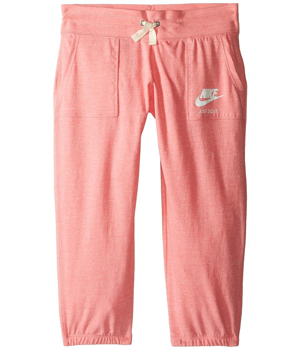 Nike Kids - Sportswear Gym Vintage Capri (Little Kids/Big Kids) (Bright Melon/Heather/Sail) Girl's Capri