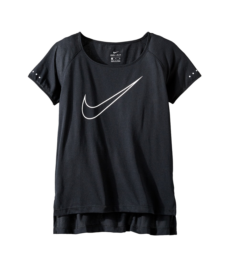 Nike Kids - Dry Running Top (Little Kids/Big Kids) (Black/White) Girl's Clothing