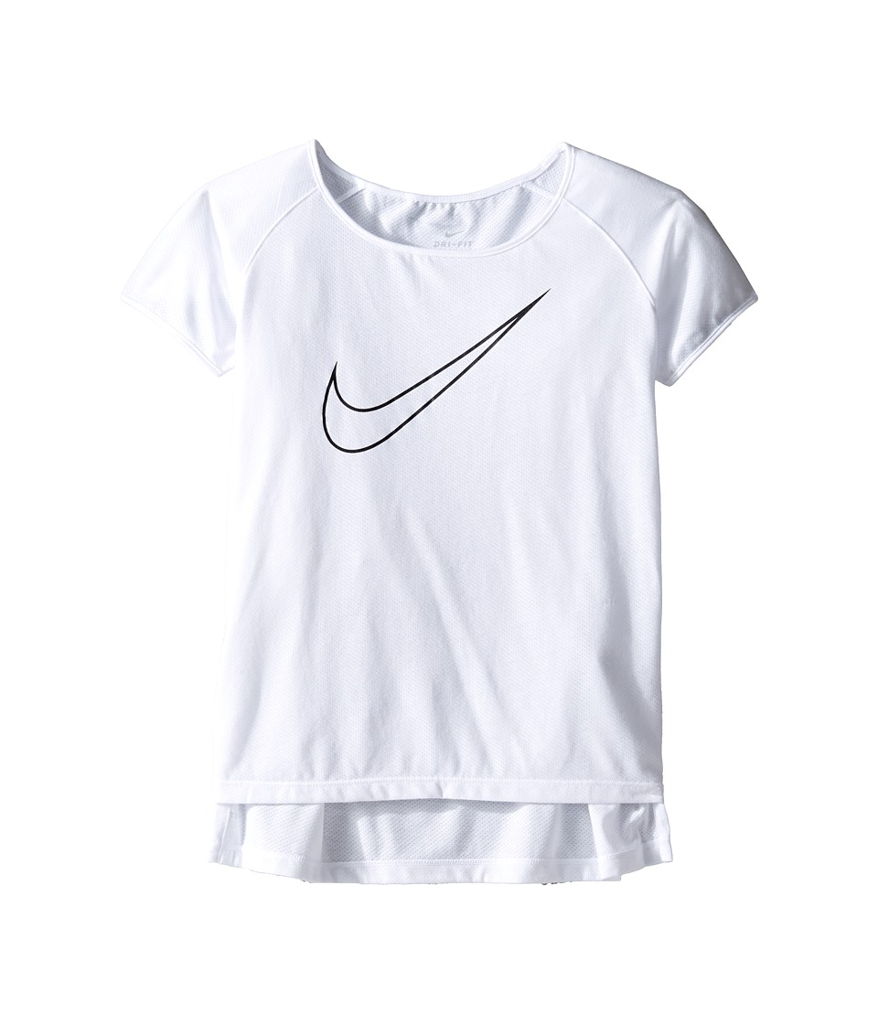 Nike Kids - Dry Running Top (Little Kids/Big Kids) (White/Black) Girl's Clothing