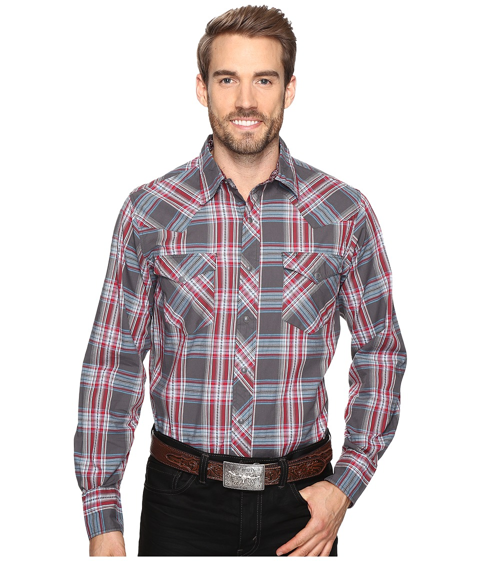 Roper - 0628 Dark Rose Plaid with Dobby (Grey) Men's Clothing