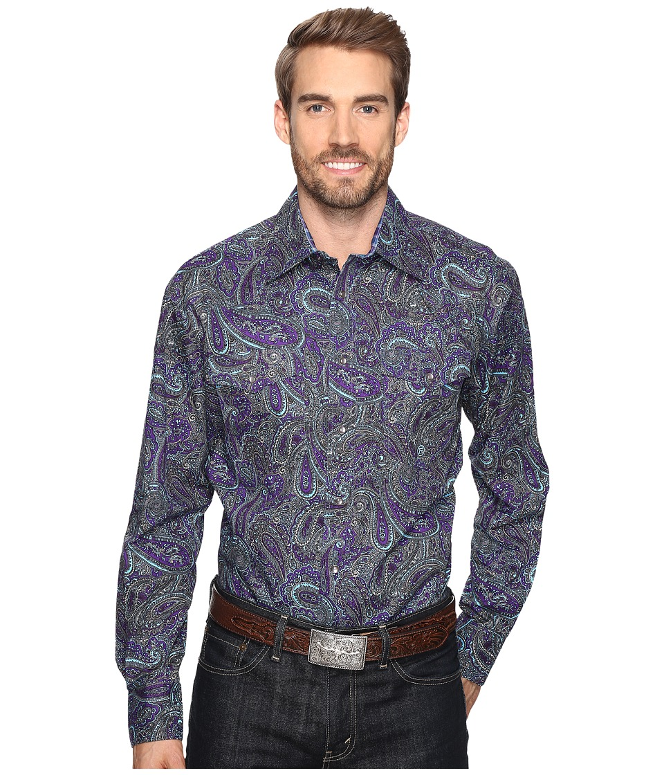 Roper - 0562 Crushed Paisley Snap (Purple) Men's Clothing