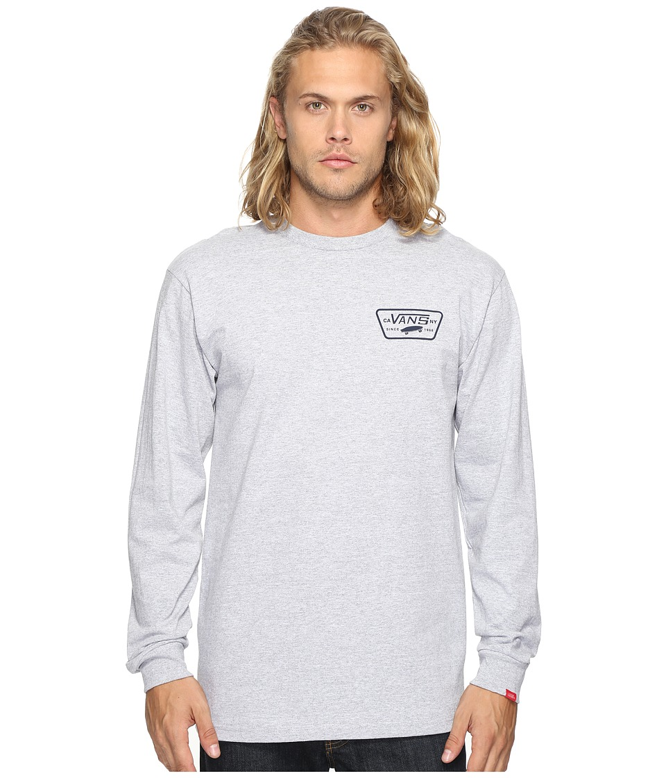 Vans - Full Patch Back Long Sleeve Tee (Athletic Heather/Dress Blues) Men's T Shirt