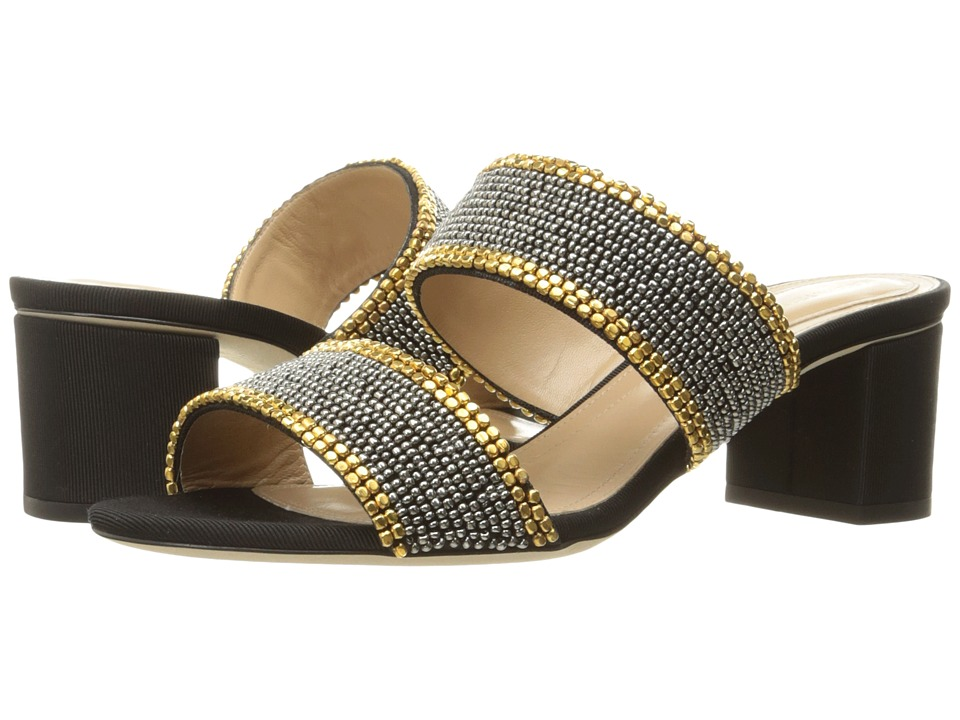 Alberta Ferretti - Slip on Double Strap Chunky Heel (Black) Women's Slide Shoes