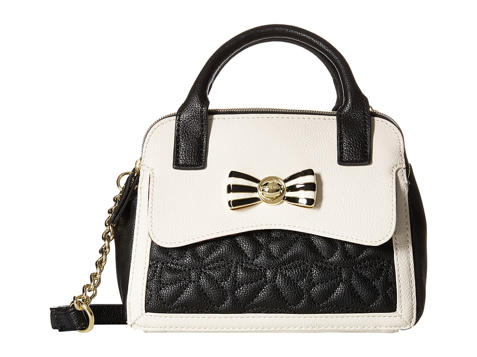 Betsey Johnson - Bow Bow Mini Dome Satchel (Black/White) Satchel Handbags