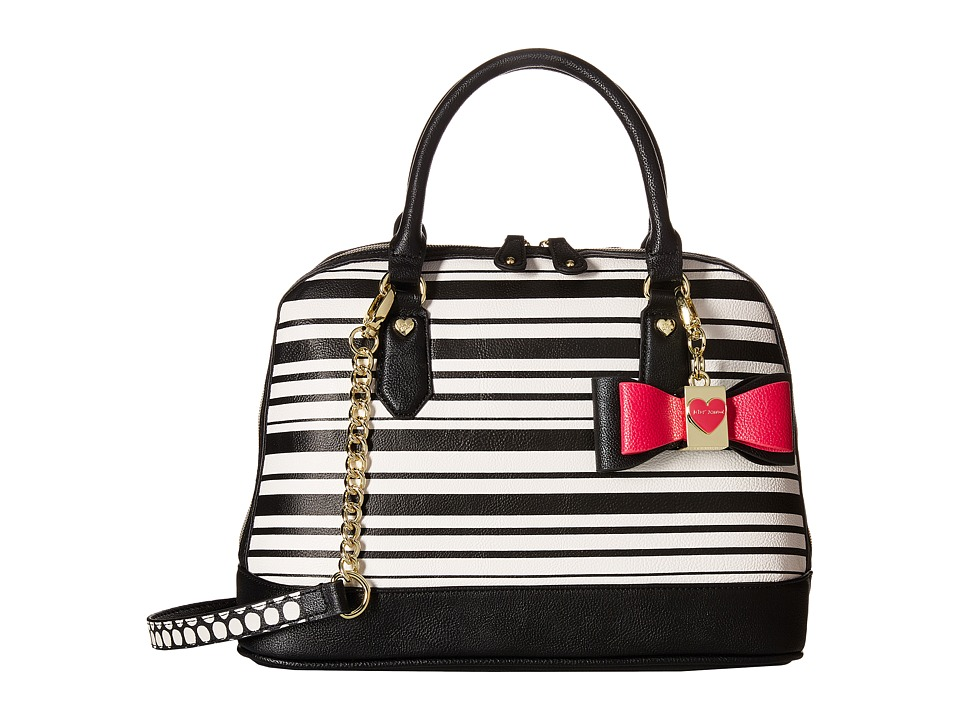 Betsey Johnson - Medium North/South Bowler (Stripe) Satchel Handbags