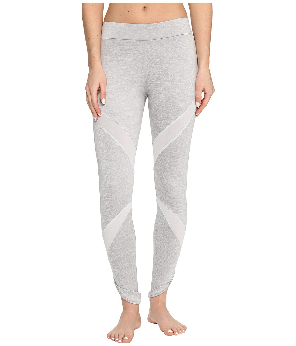 PUMA - Evo Mesh Insert Leggings (Light Gray Heather) Women's Workout