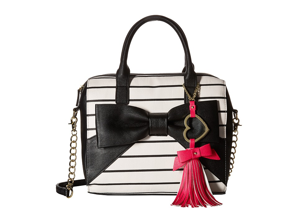 Betsey Johnson - Big Bow Tote w/ Heart Clip (Stripe) Tote Handbags