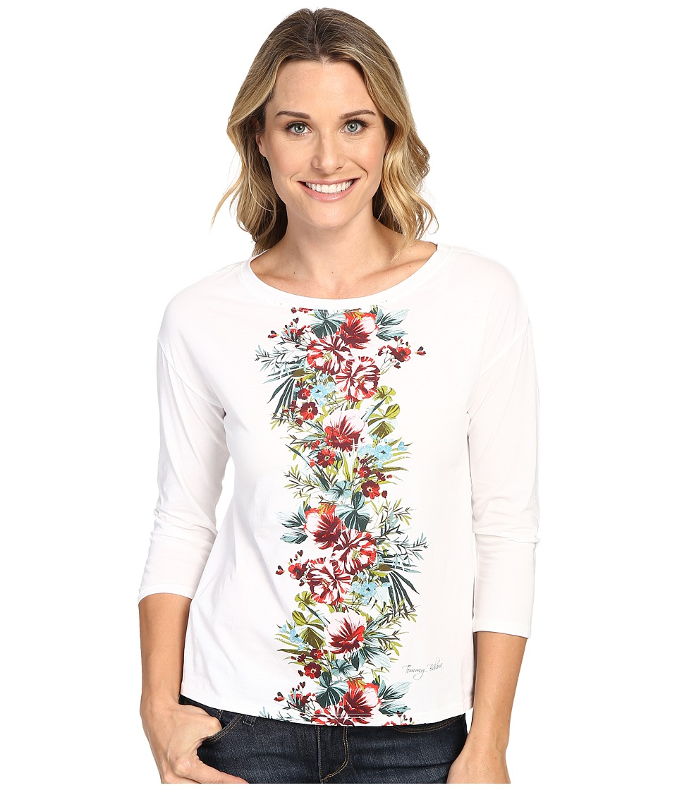 Tommy Bahama - Watercolor Columns Long Sleeve Tee (Bright White) Women's T Shirt
