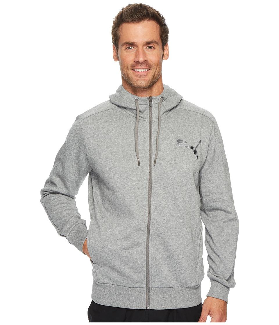 PUMA P48 Core Full Zip Hoodie (Medium Gray Heather) Men