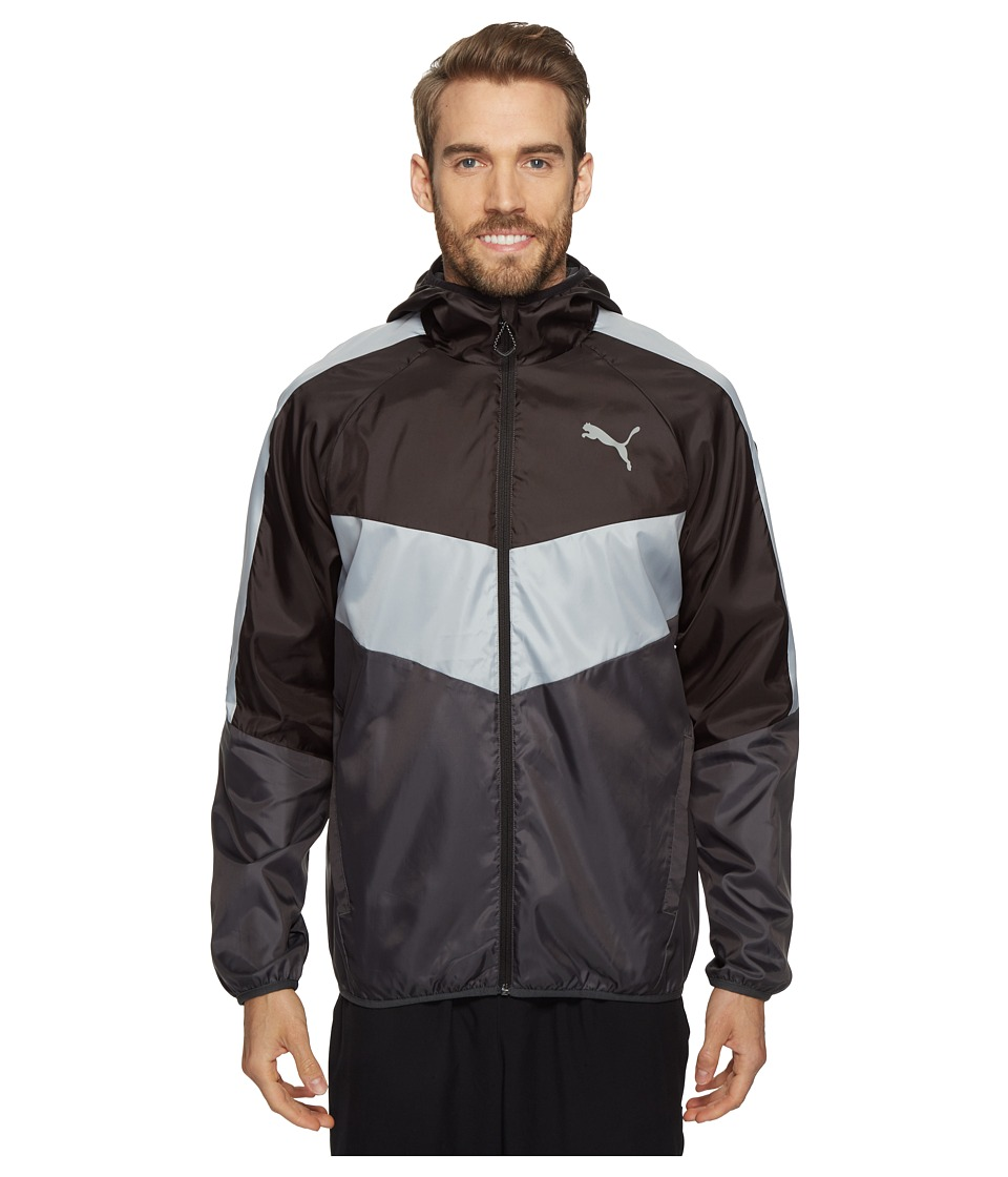 PUMA - Essential Color Block Windbreaker (Puma Black/Grey) Men's Coat