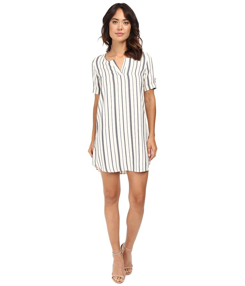 Brigitte Bailey - Karie V-Neck Striped Dress (Ivory/Navy) Women's Dress