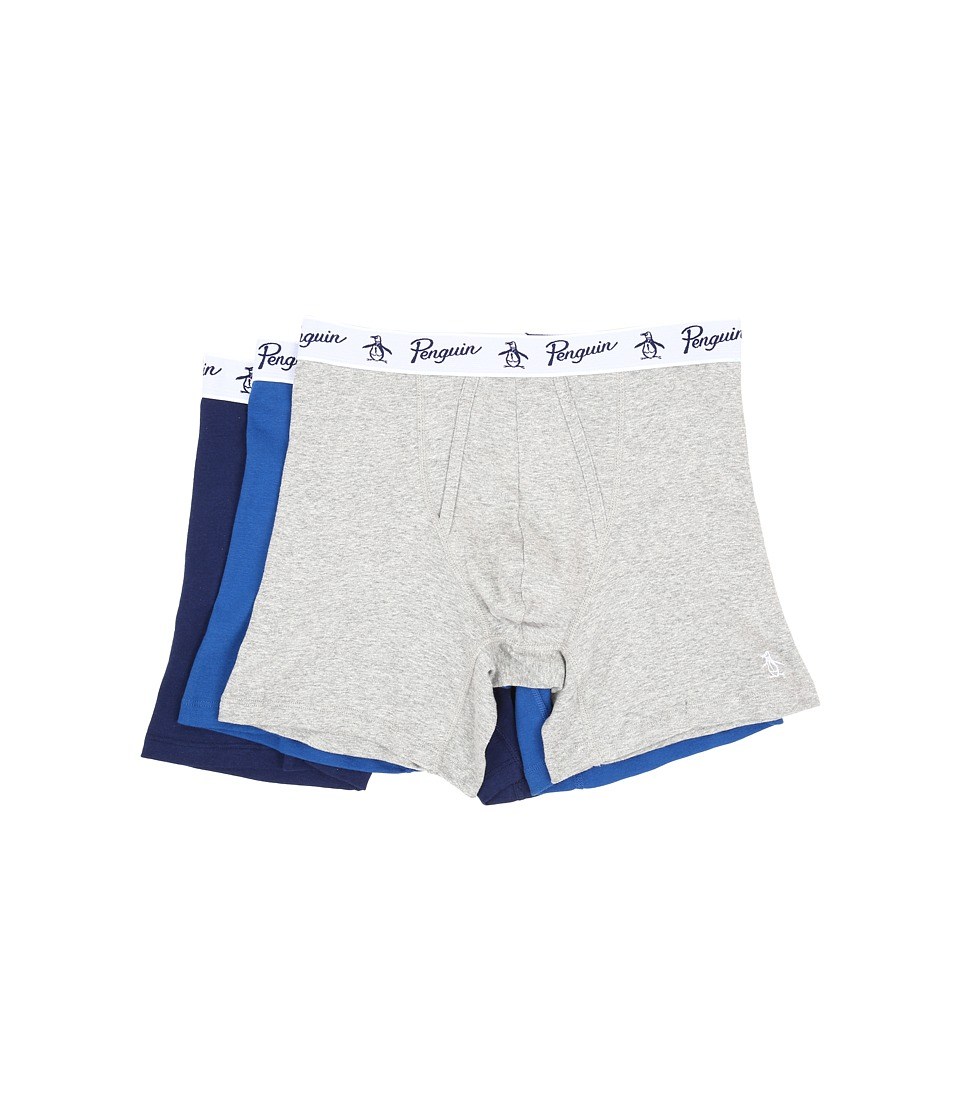 Original Penguin - 100% Cotton 3 Pack Boxer Brief (Heather Grey/Classic Blue/Medieval Blue) Men's Underwear