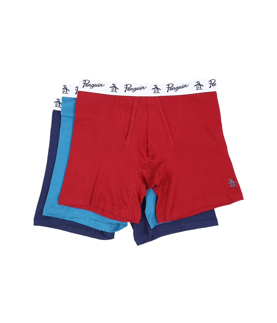 Original Penguin - 100% Cotton 3 Pack Boxer Brief (Biking Red/Seaport/Medieval Blue) Men's Underwear