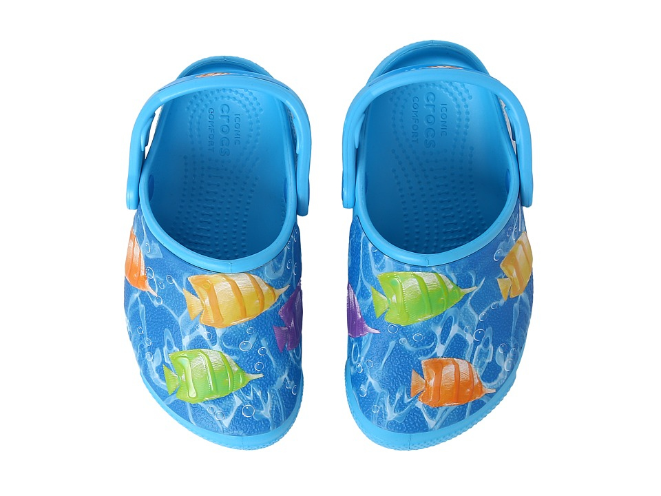 Crocs Kids - CrocsFunLab Lights Fish (Toddler/Little Kid) (Multi/Electric Blue) Kid's Shoes