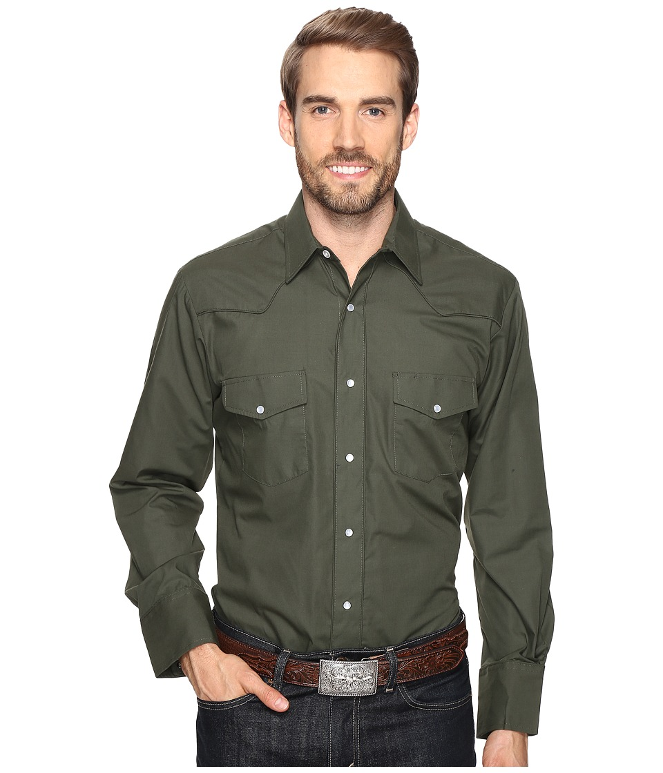 Roper - 0772 Solid Broadcloth - Olive Fancy (Green) Men's Clothing