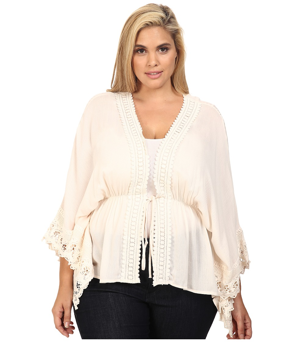 Christin Michaels - Plus Size Adia Crochet Detail Top (Cream) Women's Clothing