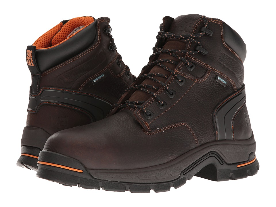 Timberland PRO - Stockdale 6 Alloy Safety Toe Waterproof Boot (Brown Full-Grain Leather) Men's Work Boots