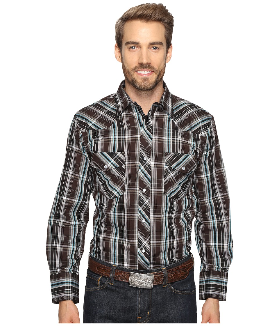 Roper - 0690 Black Turquoise Plaid (Black) Men's Clothing
