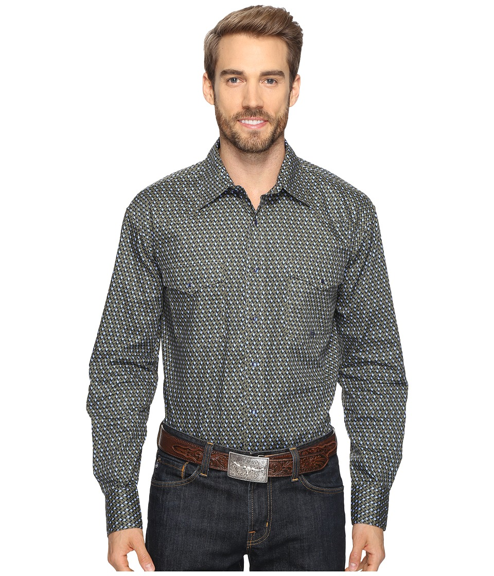 Roper - 0563 Stacked Diamonds Snap (Green) Men's Clothing