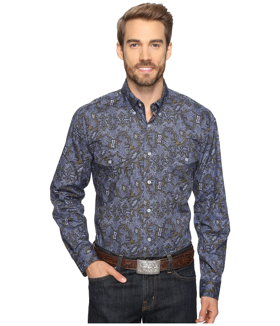 Roper - 0564 Vice Roy Paisley Button (Green) Men's Clothing