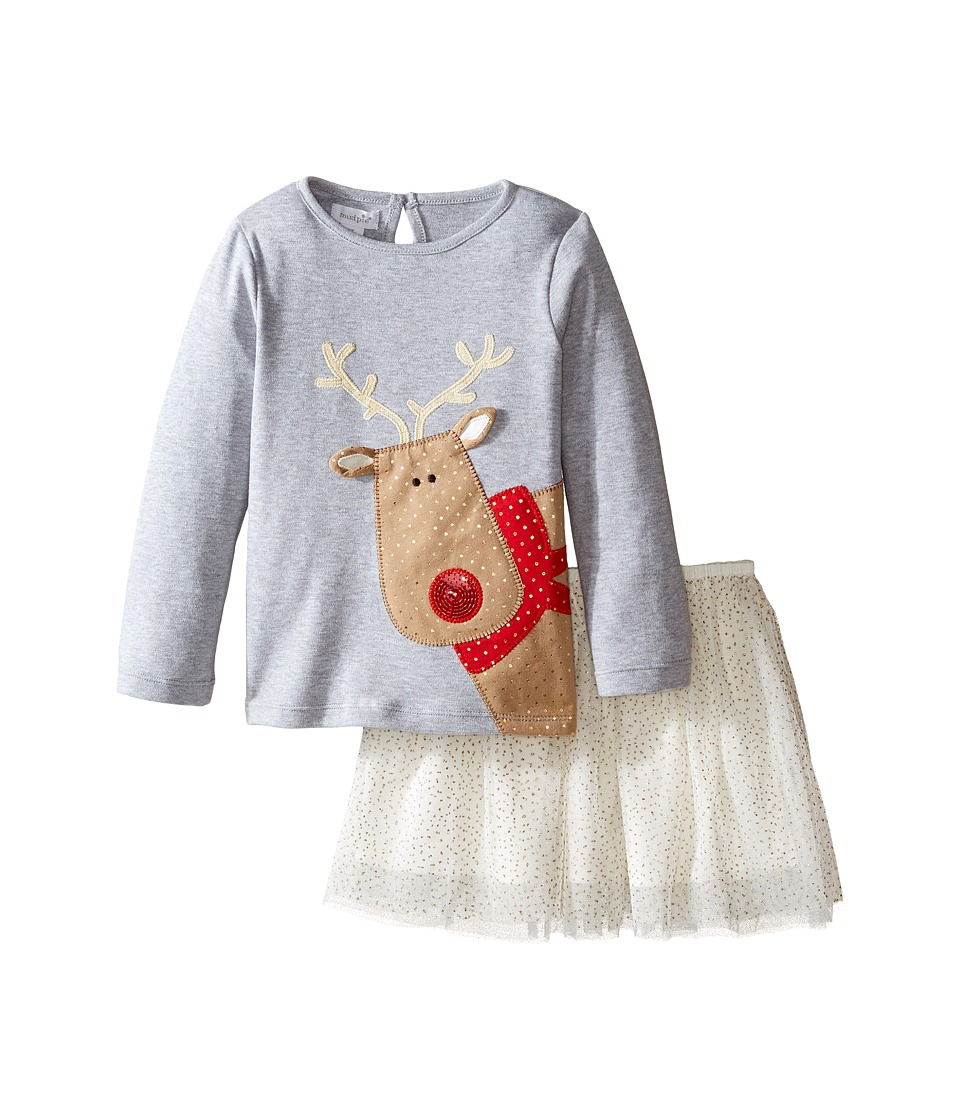 Mud Pie - Reindeer Skirt Set (Infant/Toddler) (Grey) Girl's Active Sets