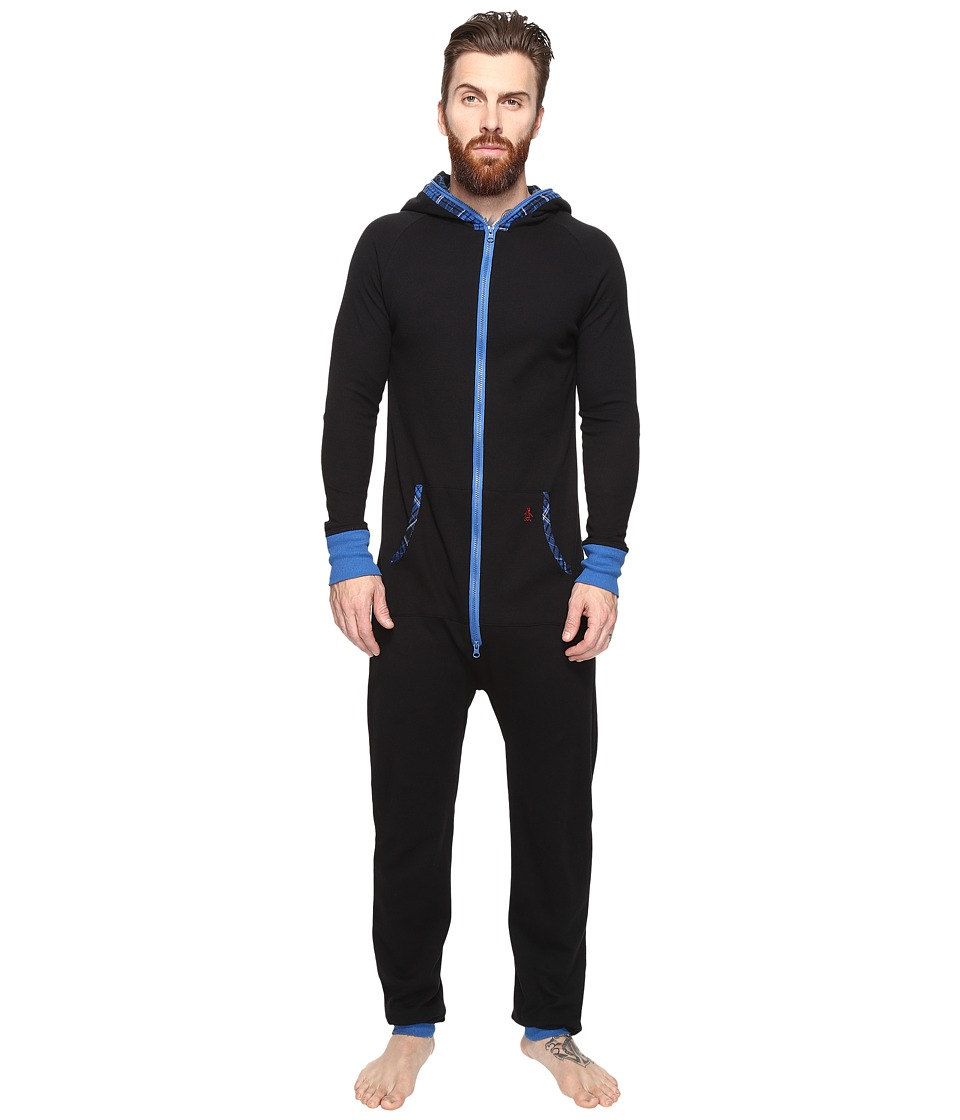 Original Penguin - Waffle Hoodie One-Piece (True Black/Classic Blue) Men's Jumpsuit & Rompers One Piece