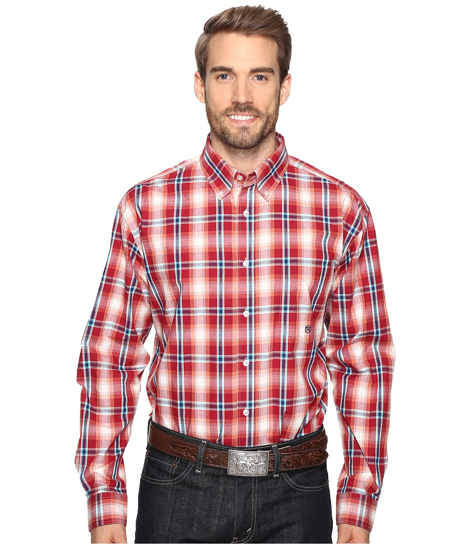 Roper - 0557 Wine Plaid Button One-Pocket (Red) Men's Clothing