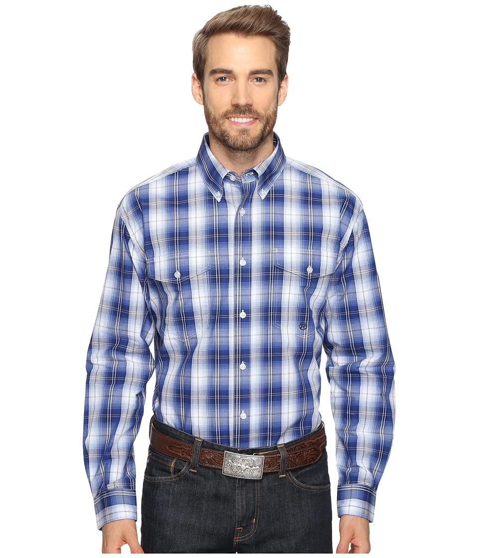 Roper - 0555 Blue River Plaid Button (Blue) Men's Clothing