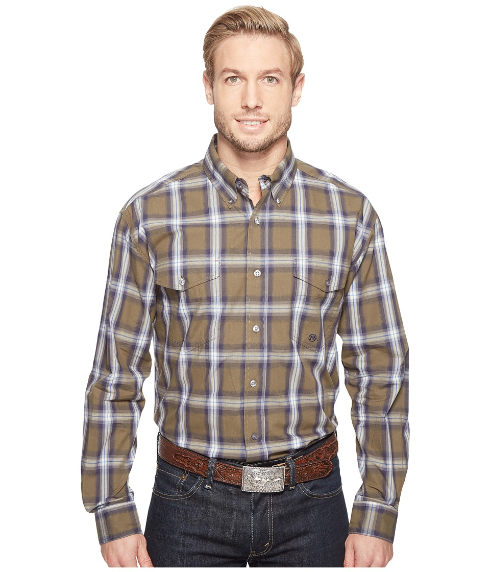 Roper - 0554 Green River Plaid Button (Brown) Men's Clothing