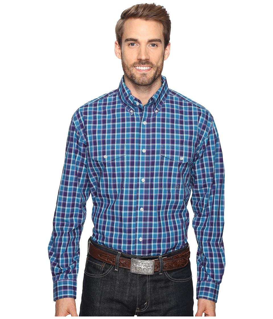 Roper - 0558 Neat Check Button (Purple) Men's Clothing