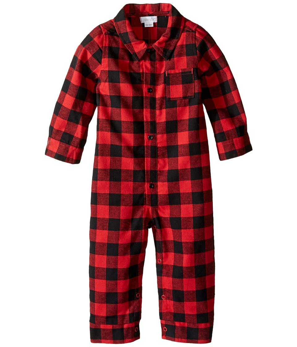 Mud Pie - Buffalo Check One-Piece (Infant) (Red) Boy's Jumpsuit & Rompers One Piece