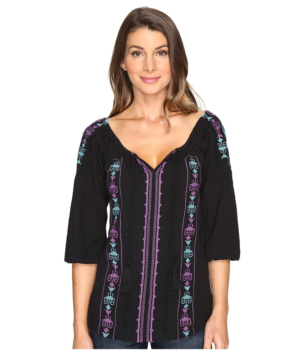 Roper - 0802 Jersey Peasant Blouse (Black) Women's Blouse