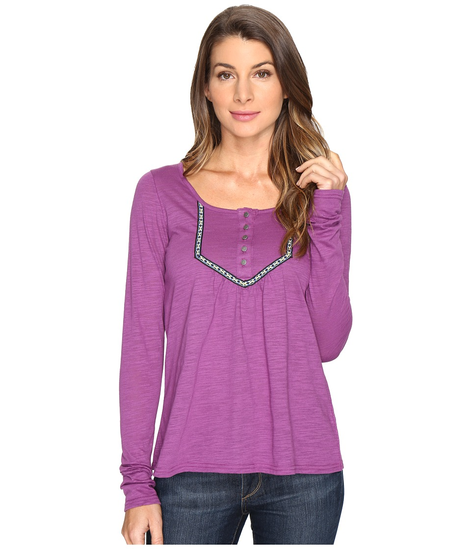 Roper - 0606 Slub Jersey Crop Shirt (Purple) Women's Clothing