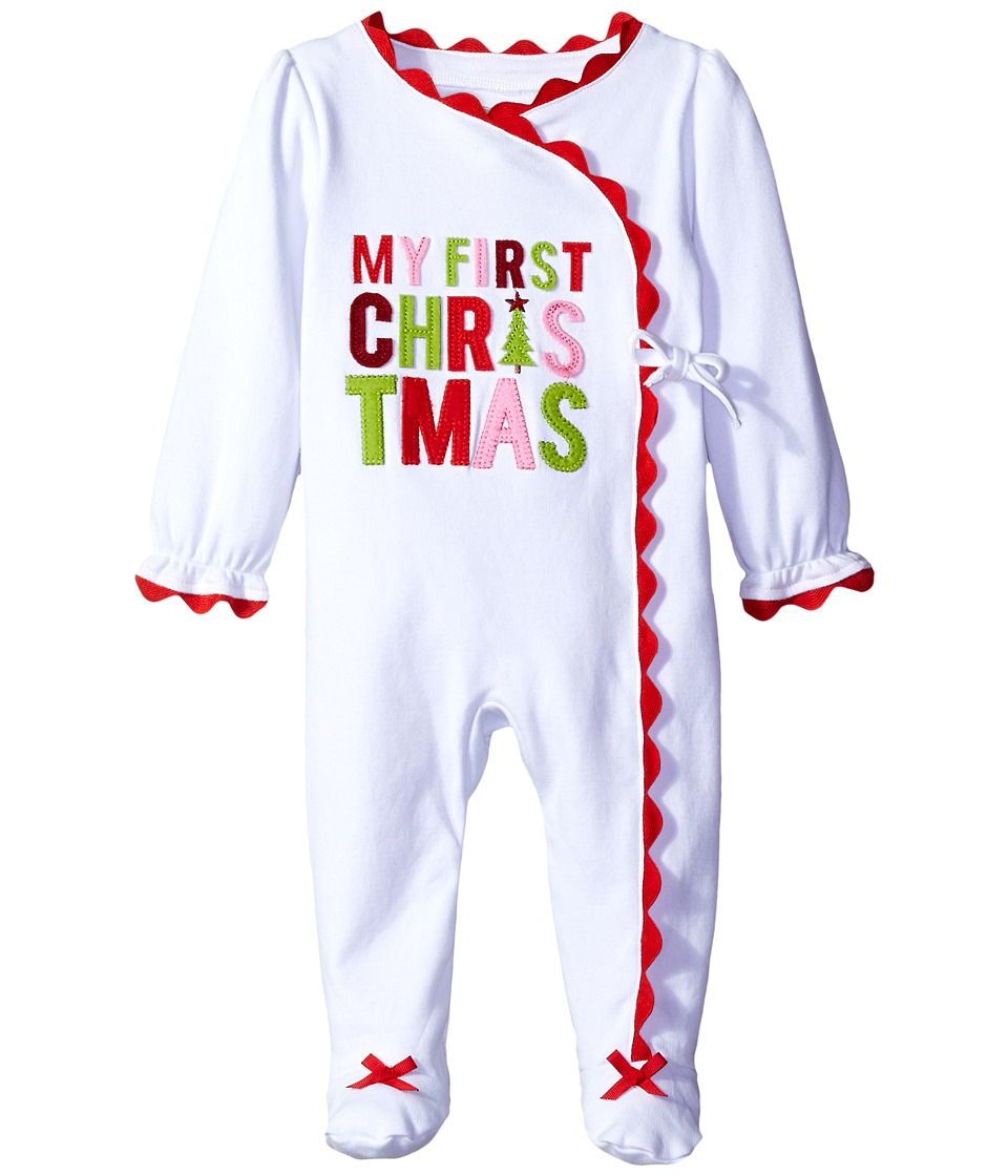 Mud Pie - My First Christmas Kimono Sleeper (Infant) (White) Girl's Jumpsuit & Rompers One Piece