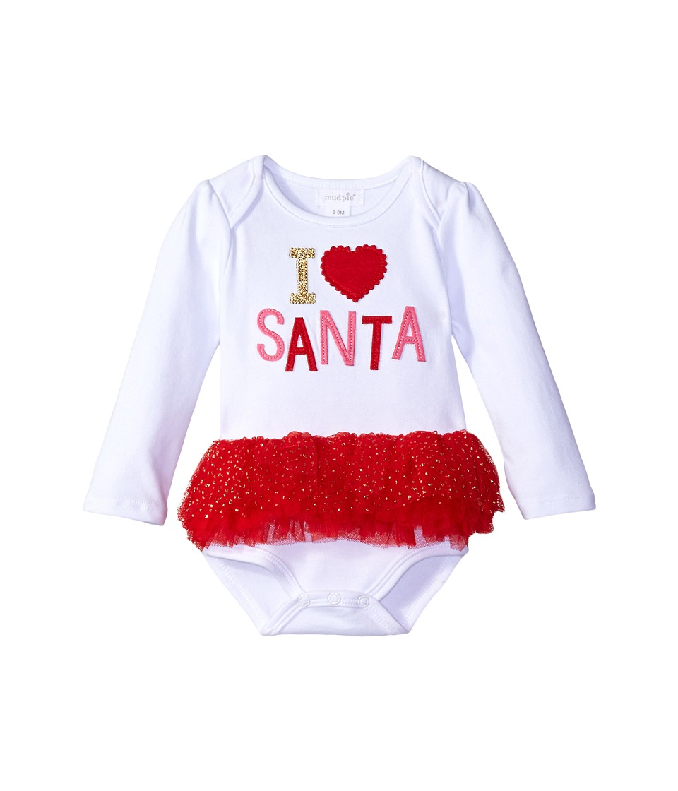 Mud Pie - Santa Tutu Crawler (Infant) (White) Girl's Jumpsuit & Rompers One Piece