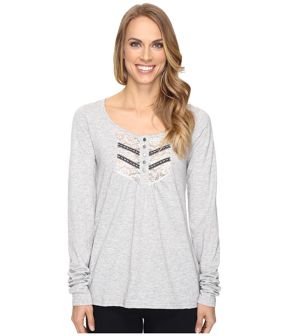 Roper - 0606 Slub Jersey Crop Shirt (Grey) Women's Clothing