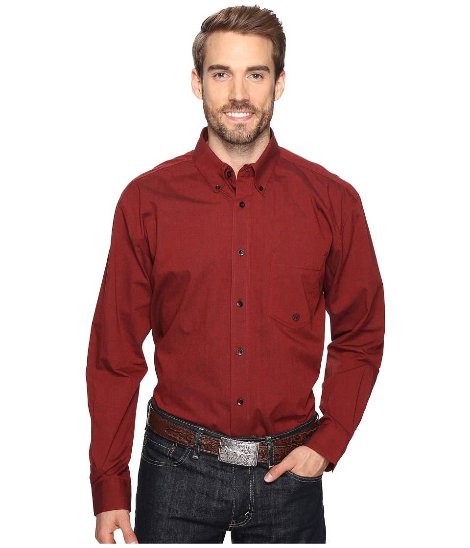 Roper - 0709 Black Fill Poplin - Rust Button One-Pocket (Rust) Men's Clothing