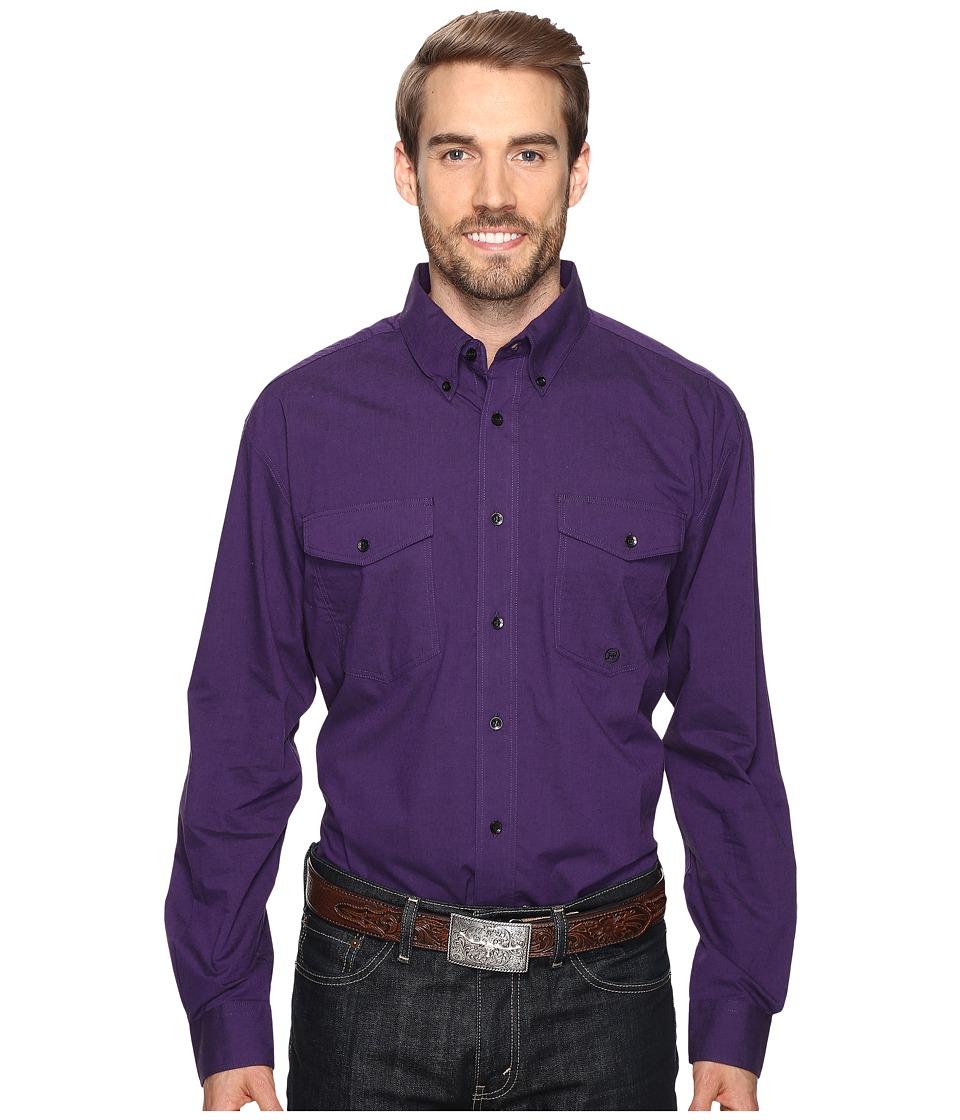Roper - 0709 Black Fill Poplin - Purple Button (Purple) Men's Clothing
